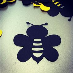 40 Bumble Bee Die Cuts  2  Black & Yellow   by ktbluecreations