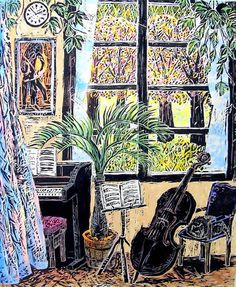 Music Art Cello and Piano Woodblock Original Art Print and Water Color - Mari Toma