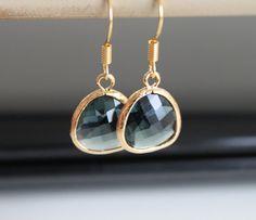 Labradorite crystal earrings, black green glass earrings, small gold earrings, simple everyday jewelry