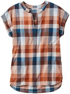 Find the best Signature Madras Shirt, Short-Sleeve Split-Neck Popover at L. Our high quality Women's Shirts and Tops are thoughtfully designed and built to last season after season. Short Kurti Designs, Kurta Designs, Blouse Designs, Madras Shirt, Stitch Fix Outfits, Short Tops, Blouse Styles, Latest Fashion For Women, Womens Fashion
