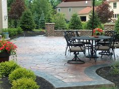 Acid stained stamped concrete patio --  www.fordsonconcrete.com