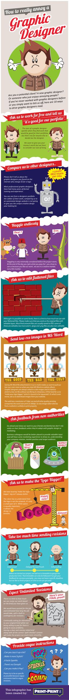 How to Annoy a Graphic Designer - An Infographic from Print-Print.co.uk Blog