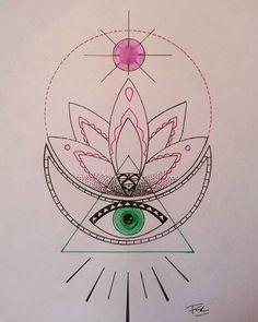 #tattooed #tattoo #tatouage #dessintattoo #drawtattoo #geometry #tattoogirl #lotustattoo #lotusflower #ink #inked #inkinspiration #doodle #zen #tattodesign #sacredgeometry #sacredtattoo#thirdeye#alchimie