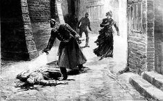 A woodcut of one of Jack the Ripper's victims.