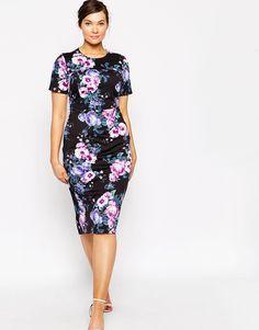 ASOS CURVE | Orchid Print Scuba Bodycon Dress