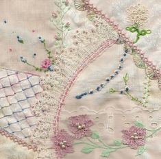 I ❤ crazy quilting & embroidery . . .  Luscious Lace - Cathy L. My work on Cathy's block. Cathy used vintage hankies on her blocks which set the tone for the work.  ~By stitchintime