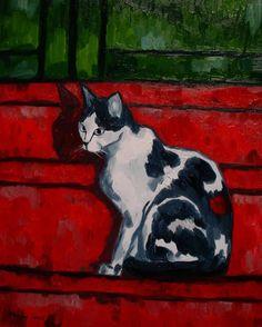 Kot na czerwonych schodach Aleksander Poroh