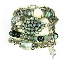 Nan's got the blues: luscious labradorite, diamonds, fossil walrus and a fabulous tahitian keishi. nanfusco.com