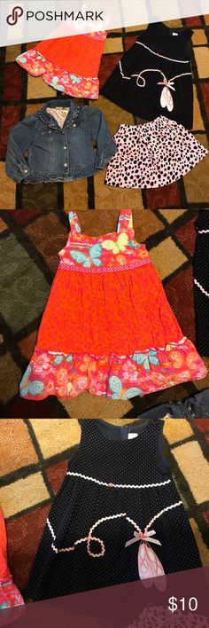 4 piece girls bundle size 3T 4 piece 3T lot. Orange dress is youngland, ballerina dress in rare editions, jean jacket is Arizona, and skirt is charter club. mix Dresses