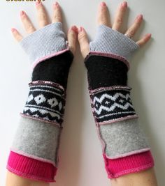 Recycled Sweater Fingerless Gloves