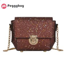 7db842483a80 PU Glitter Sequin Women Chain Sling Handbags Evening Party Messenger Bag  Fashion Girls Shinning Shoulder Crossbody
