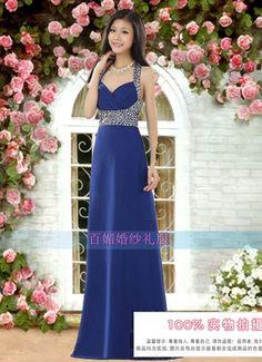 Wholesale Personality & Charming Off-shoulder Deep V-neck Sequin Sling Long Evening Dress----Navy-blue top dresses