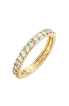 This gold stackable band with sparkling pavé-set cubic zirconia stones is absolutely breathtaking and elegant.