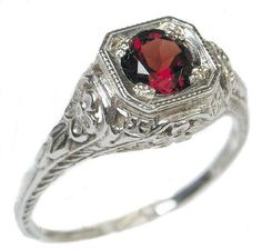 Antique Style Sterling Silver Filigree .65ct Mozambique Garnet Ring: Jewelry: Amazon.com $89.99