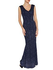Lace v neck fishtail dress