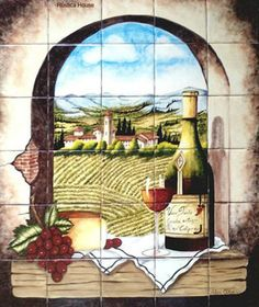 "A Hand Painted tile mural looks pretty on a kitchen backsplash, bathroom wall or table-top. Archway to the Vineyard mural sku 19041 is available in made to order dimensions. Tile Mural ""Archway to the Vineyard"" by Rustica House. #RusticaHouse"