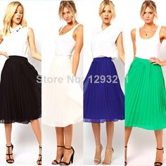 Women Candy Color Chiffon Pleated Elastic Waist Double Layer Mid-Calf Skirt Free shipping and drop shipping
