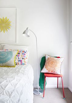 Bedroom white with pops of color