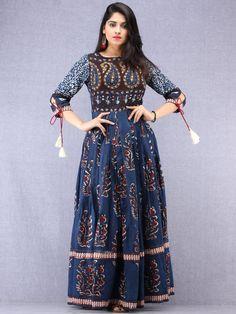 Buy Online Authentic Hand Block Printed Indian Dresses, Ajrakh Dresses at InduBindu. Best collection of Hand Printed Dresses. Types Of Dresses, Nice Dresses, Long Dress Design, Frock Patterns, Embroidery On Clothes, Anarkali Dress, Anarkali Suits, Kurti Neck Designs, Ethnic Dress
