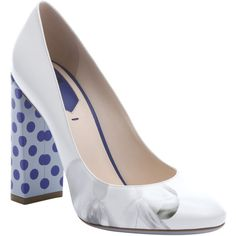 Fendi White And Bluette Leather Polka Dot Heel Pumps (356336401) ($572) ❤ liked on Polyvore featuring shoes, pumps, block heel pumps, fendi pumps, leather sole shoes, round toe pumps and high heel shoes