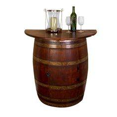 Half Barrel Wall Cabinet with oak counter top is beautifully handcrafted from half of a retired French oak wine barrel. Cabinet door is hinged with a latch.