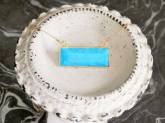 Chunky Turquoise Bar Necklace // Turquoise Bar by ransomjewelry