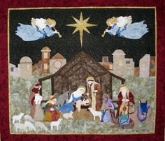 """NATIVITY quilt wall hanging, 49 x 55"""", pattern at Seams Like Home"""