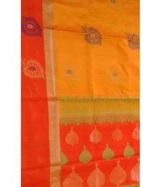 Orange Pure Handloom Kajeevaram Soft Silk Double warp Saree
