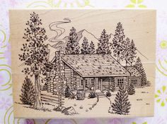Embossing Arts Rubber Stamp Log Cabin in The Woods XXL Nature Sketch Scenery | eBay