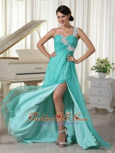 Turquoise Appliques Decorate One Shoulder and Bust Sexy Prom Dress With High Slit Chiffon and Elastic Woven Satin Brush Train- $129.65  http://www.fashionos.com   customize prom dress | affordable prom dress | summer collection | prom dress with zipper up back | ready to ship prom dress | autumn collection | spring collection | fitted floor length prom dress | prom dress for wholesale | empire prom dress