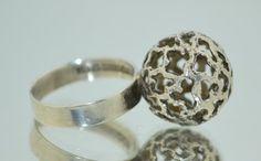 #forsale > Turkukorut Aulin Oy (FI), vintage modernist silver sphere shaped ring, 1971. #finland   finlandjewelry.com