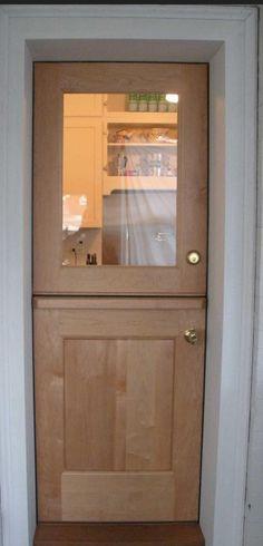 Interior Dutch Door | DD205 Glass Panel Model | www.VintageDoors.com Dutch Doors, Cottage Door, Glass Panels, Bathroom Medicine Cabinet, Patio, Stairs, Windows, Interior, House