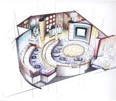Looks like it was hand rendered through colored pencils? Interior Architecture Drawing, Interior Design Sketches, Interior Rendering, Sketch Design, Interior And Exterior, Architecture Design, Cafe Design, Store Design, Store Plan