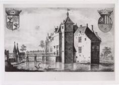 "The castle of Tilburgh. A Prrint of a""lithography"" (engraving in stone) by Mr F Wolters 1840 after the 17th century copper engraving from H Causé, published in ""Noord- Brabantsche Volksalmanak 1841 p.156"