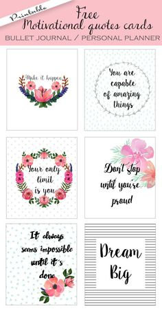 Free printable bullet journal cards. Personal planner cards. Motivational quotes cards | /fptfy/
