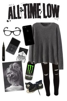 """""""Therapy All Time Low"""" by dannidontknowshit ❤ liked on Polyvore featuring River Island and Converse"""
