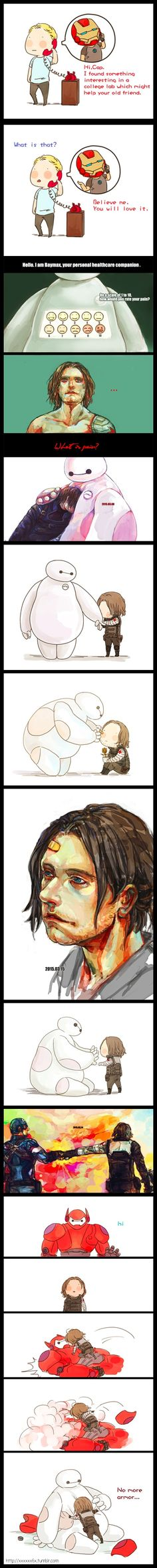 Bucky Barnes and Baymax || by xxxxxx6x || #fanart #crossover || See source link for animations! | BUCKY NEEDS A BAYMAX SOMEBODY MAKE THIS CANON RIGHT NOW. | too sweet for words