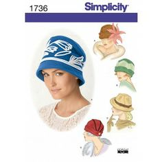 Simplicity 1736-A - Vintage Hoeden - Patronen