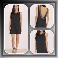 "Beaded back shift dress This little black shift dress will take you from day to night, style with lace up sandals to sky- high heels, gorgeous beading detail with low scoop back..length:32"" Bust: 32"" waist:24"" hips:34"" Dresses Mini"