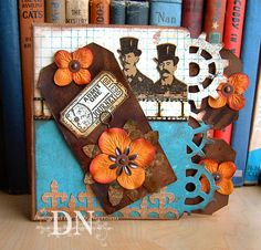 A card made out of a paper bag...and all done up Steampunk...love this idea. And it's another blog I will get lost in~