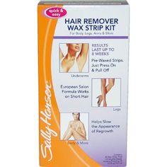 Sally Hansen Quick and Easy Hair Remover Wax Strip Kit For Under Arms Legs and Body Women by Sally Hansen. $5.91. Quick & Easy Hair Remover Wax Strip Kit For Under Arms Legs & Body by Sally Hansen for Women. Quick & Easy Hair Remover Wax Strip Kit For Under Arms Legs & Body by Sally Hansen for Women - 1 Pack Wax Strip. Wax For Body, Legs, Arms & Bikini. Smooth results last up to 8 weeks. European salon formula with Bisabolol, a soothing agent. Helps slow the appearanc...