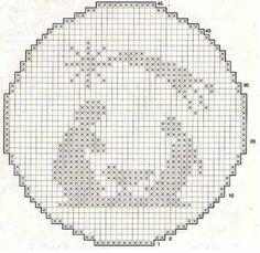 Natività a filet  Un'idea dal web per realizzare un piccolo quadretto o un centrino a filet raffigurante la Natività.    schemi uncinetto N...