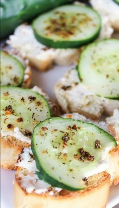 Italian Cucumber Baguettes with Cream Cheese and Herbs....