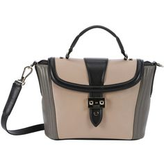 Lancel Beige And Black Leather Color Block Convertible Top Handle Bag... (17 570 ZAR) ❤ liked on Polyvore featuring bags, handbags, shoulder bags, purse shoulder bag, handbags purses, shoulder handbags, leather shoulder bag and man bag