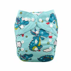 Baby Reusable & Waterproof Cute Dinosaur & Castle Cloth Diaper in Green(with insert), 20% discount @ PatPat Mom Baby Shopping App
