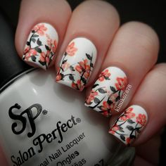 Nailpolis Museum of Nail Art | White and orange spring floral by Kim #nails #nailart #manicure