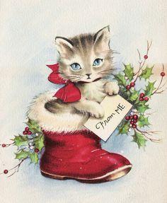 vintage Christmas kitten in Santa boot Cat Christmas Cards, Christmas Kitten, Christmas Animals, Christmas Greetings, Winter Christmas, Xmas, Vintage Christmas Images, Vintage Holiday, Images Noêl Vintages