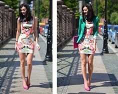 Daisyline . - Humanic Heels, H&M Dress, Stradivarius Jacket, Clutch - Floral boom