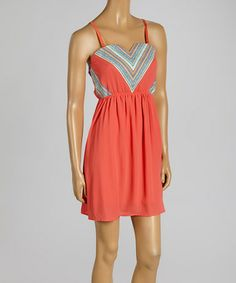 Another great find on #zulily! Coral Chevron Dress #zulilyfinds