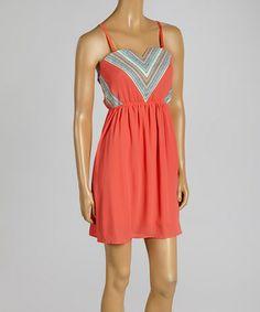 Another great find on #zulily! Coral Chevron Dress #zulilyfinds